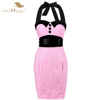 Black Red Pink Women Elegant 50s Vintage Dresses Polka Dot Retro Rockabilly Party Work Office Sheath Bodycon Pencil Dress VD244