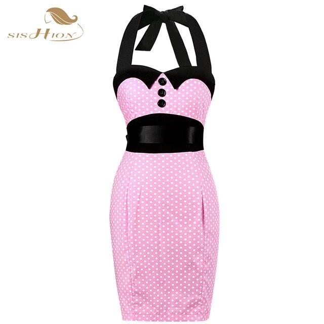 Negro rojo rosa mujeres elegante 50 s vendimia Vestidos Polka Dot ...