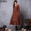 Das artka mulheres primavera 2017 do vintage bordado cordão ampla hem dress moda o-pescoço manga longa mid-calf dress la11663q