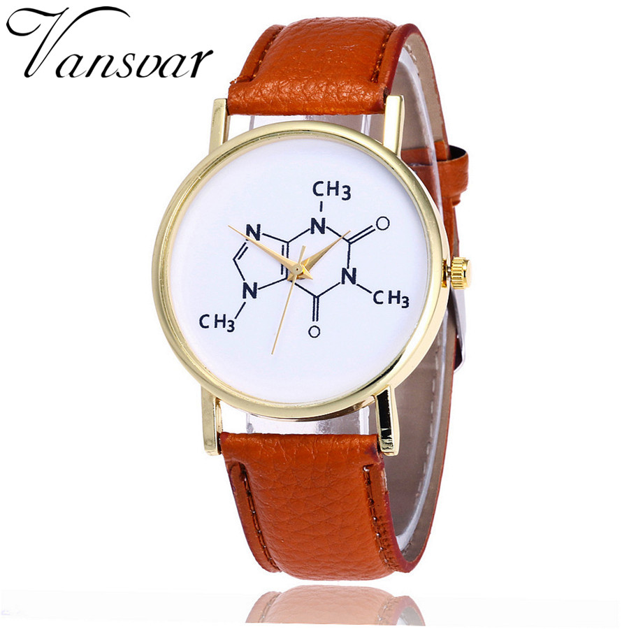 Vansvar Brand Fashion Chemistry Caffeine Molecules Watch Unique Women Wrist Watches Leather Quarzt Watches Relogio Feminino V22 vansvar fashion good things are going to happen watch casual women quotes wrist watch leather quarzt watch relogio feminino v29