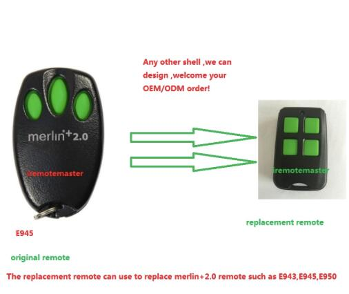merlin+2.0 remote , E945,E950,E943,MRC950EVO, MR650EVO ,MR850EVO, MT3850EVO remote control replacemnet