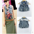 Fashion turn-down collar short design denim vest women's sequined chains slim short vest free shipping
