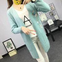 2017 Autumn New Pattern Embroidery Cardigan Knitting Unlined Upper Garment Loose Long Easy Long Sleeve Sweaters