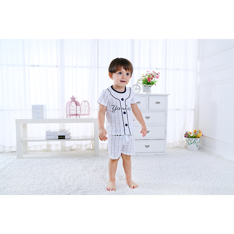Summer new cotton boys and girls baby newborn cute striped short sleeved shorts suit T shirt soft breathable suit kids clothes in Clothing Sets from Mother Kids