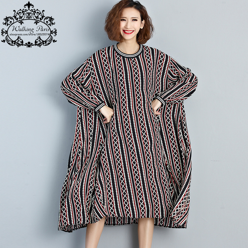Plus Size Women Dress Autumn Long Sleeve Striped Print ...