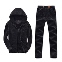 Men's 2018 Winter Thick Sports 3 piece Set Hooded With Velvet Jogging Running Suit Keep Warm Pleche sportswear Sport clothing
