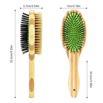 Professional Double Sided Pin & Bristle Bamboo Brushes  2