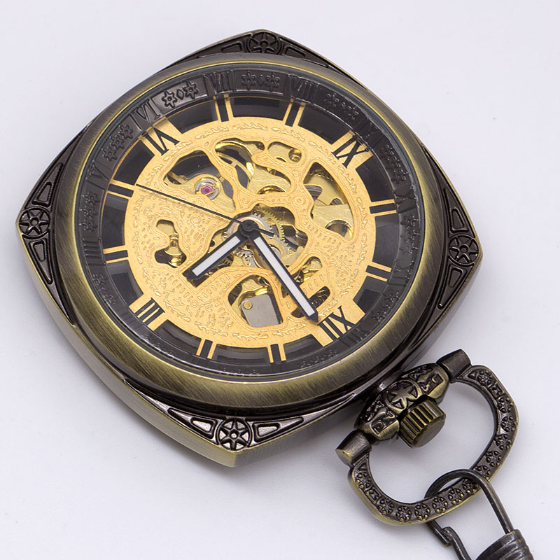Antique Luxury Steampunk Skeleton Mechanical Pocket Watch Men's Chain Fob Watch Neclace Pendant Men's Clock