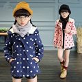 2017 New arrive Girls Winter Coat polka Dot Warm Children Jacket Hooded Teenagers Baby Girl Jacket for Teenagers 5-12years
