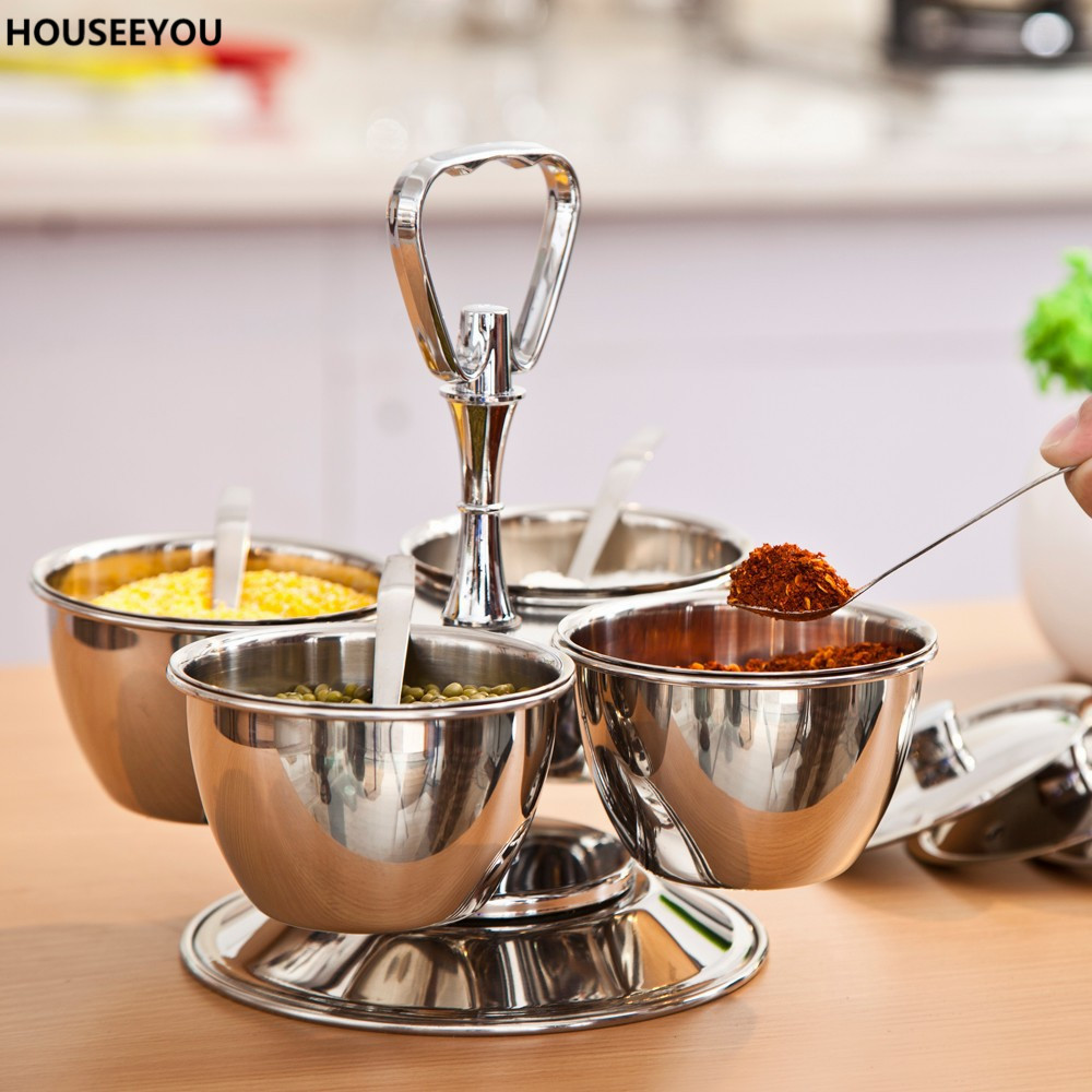 popular stainless steel canister set buy cheap stainless steel revolving 4 bowl condiment set stainless steel gravy boats seasoning spice salt pepper canister with
