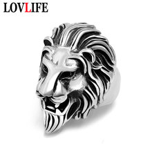 New Vintage Lion Head Rings for Men Retro Silver/Gold Color Punk Hip Hop Lion Finger Ring Rock Concert Party Fashion Jewelry(China)