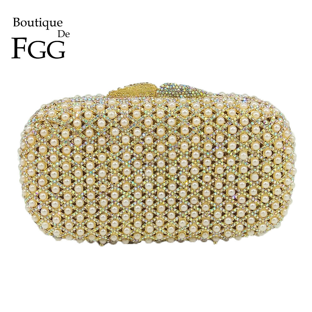 Boutique De FGG Dazzling Crystal AB & Beads Women Gold Metal Minaudiere Evening Bag Wedding Bridal Diamond Purse Party Clutch women gold crystal evening clutch purse blue hard case metal minaudiere bridal wedding party crossbody bag blue red wallet