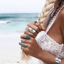 Wide Version Big Silver Bohemian Rings for Women Vintage Geometric Hyperbole Carved Ring Sets with Stone Bagues Pour Femme