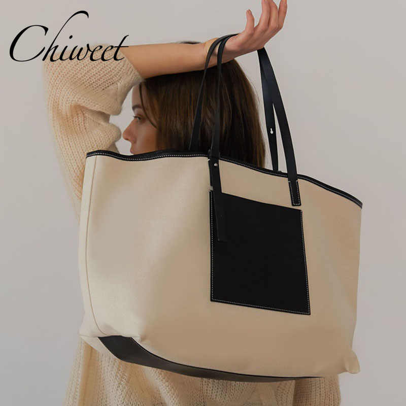 9b67f4dc4a8 Designer Casual Large Tote Brand Canvas Patchwork PU Leather Bag Handbags  For Women Shoulder Bags Ladies Student Simple Big Bags