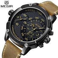 New Design MEGIR Chronograph Sports Watch fashion Luxury Watches For Men Dual Time Zone watch Relogio masculino Men quartz watch