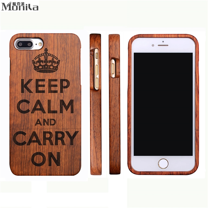 Vintage Retro Keep Calm And Carry On Real Handmade Bamboo Wood Case For <font><b>Iphone</b></font> 8 Plus 8plus Wood Carving Case For <font><b>Iphone</b></font> X