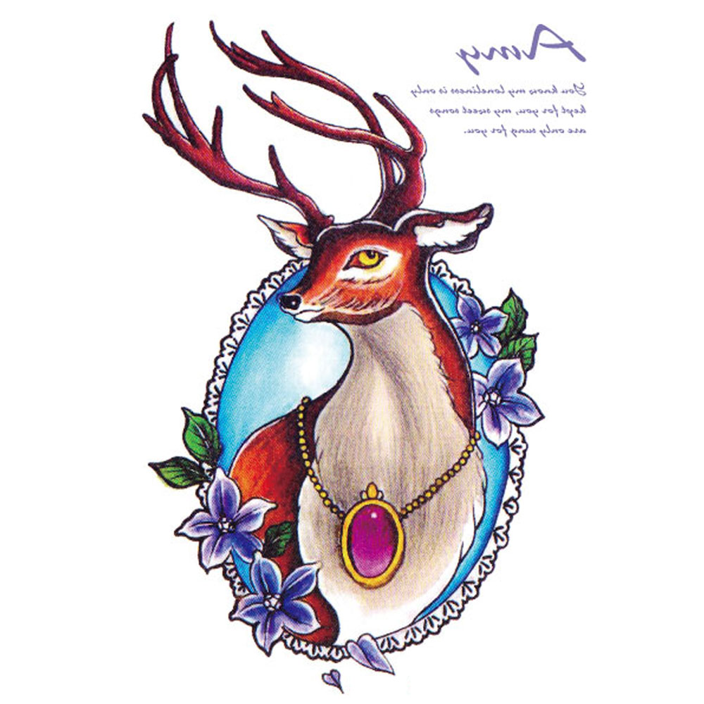 Yeeech Temporary Tattoos Sticker for Women Sexy Deer Elk Elegant Animal Designs Fake Large Arm Leg Body Art Makeup Waterproof