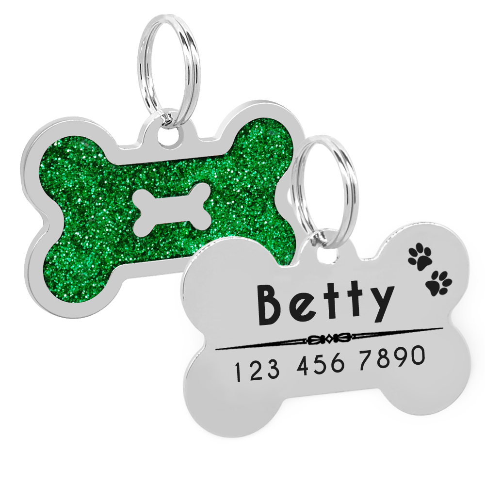 Glitter Personalized Dog ID Tag Customized Bone Shape Name Tag Plate Pet Dog Accessories Collar Decoration Pink Red 3