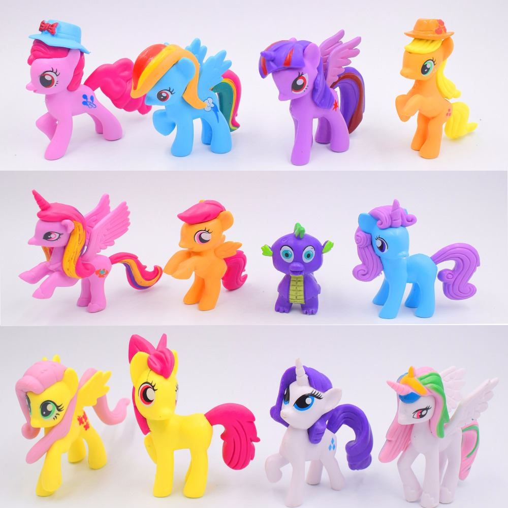 ThinkEasy 12pcs 7cm My Cute Little PVC Lovely Horse Poni Birthday Party Tool Action Toy Figurine Dolls for Girl Christmas Gift 14cm collection model toy gift anime model funko pop my cute lovely rainbow horse pvc unicorn poni toys for children