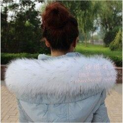 Colorful Genuine Raccoon Fur Detachable Collar Scarfs Fashion Coat Sweater Detachable  Luxury Fur Collar TKC003-WB