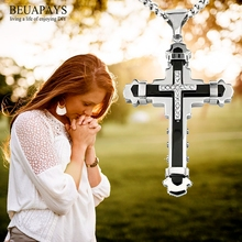 12pcs cross Jesus Christ Party Favors DIY Stainless steel alloy Cross multi-drill Steel Necklace Car Pendant pray gift