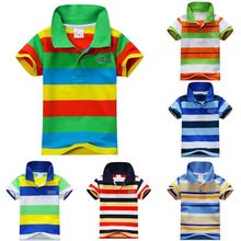 Fashion New Summer Baby Children Boys Striped T-shirts Kids Tops Tee Polo Shirts 1-7 Years