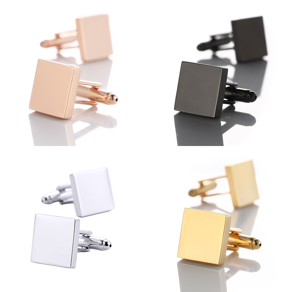 Blank Square 4 Color Shirt Cufflinks for Mens Wholesale Metal Copper Cuff Buttons Business Gifts Cuff links Men Wedding Gift