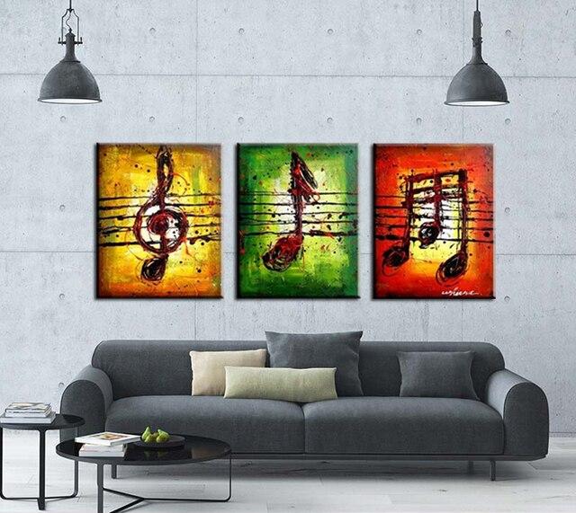 3 pezzi dipinto a mano su tela di arte della parete musica arte ...