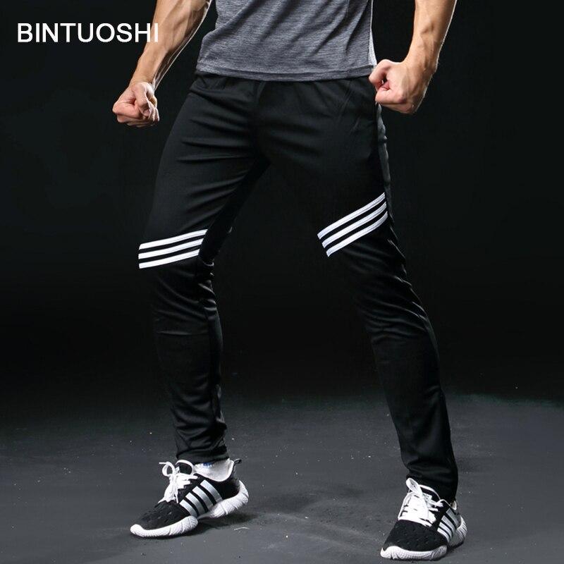 BINTUOSHI Running Pants Men With Zipper Pocket Football Soccer Training Pants Jogging Fitness Workout Sport Trousers
