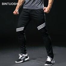 BINTUOSHI штаны для бега мужские с карманами Футбол тренировочные штаны для бега фитнес, тренировки, Спорт Брюки