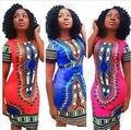 Женщины Дамы Платья Винтаж Лето Краткое Краткое Традиционной Африканской Печати Пляж Оболочка Dashiki Boho Короткое Мини-Платье Новый