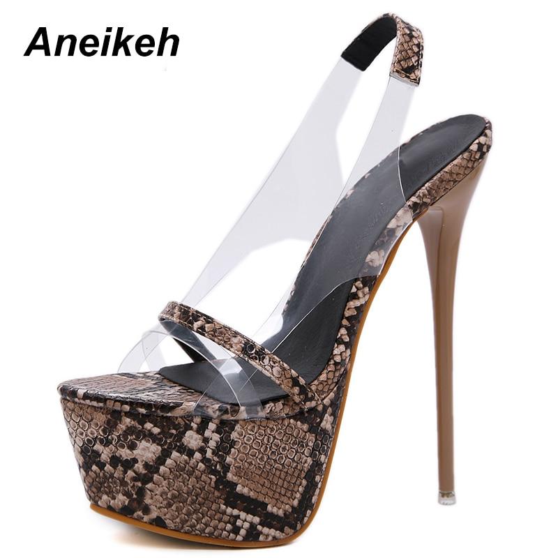 bf6768e780a0 Aneikeh 2019 Fashion NEW PVC Leopard Print Platform High Heels Sandals  Summer Sexy Slip-On