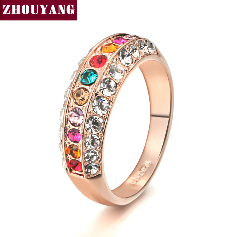 Top Quality ZYR121 Gold Nobleness Elegant Multicolor Crystal Ring Rose Gold Color Austrian Crystals Full Sizes Wholesale