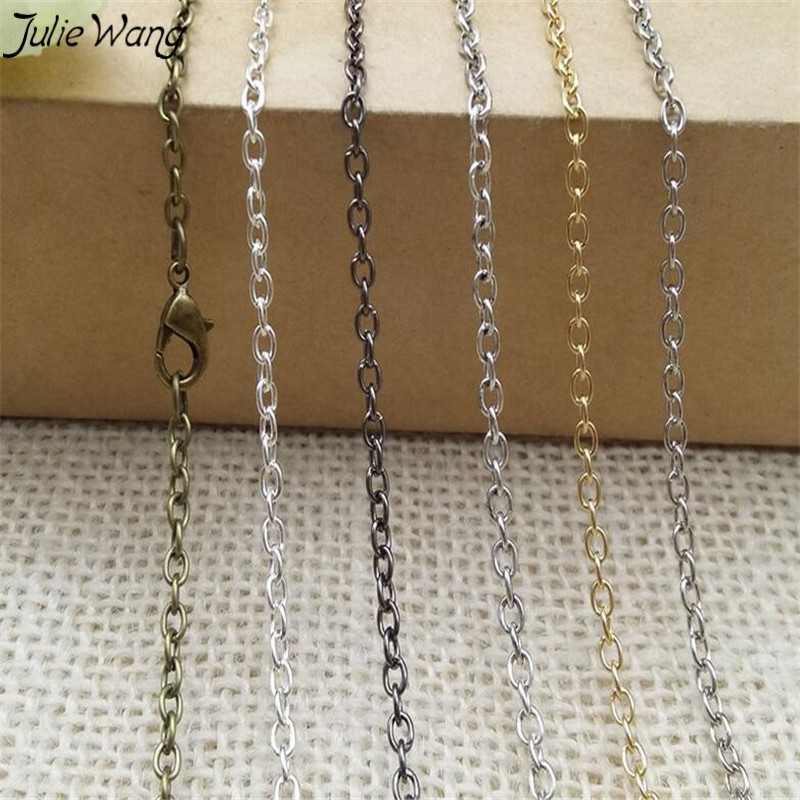 Julie Wang 2PCS 45cm 60cm 80cm Silver Black Gold Bronze Multi Color Metal Iron Link Chain DIY Women Men Necklace Jewelry Finding(China)