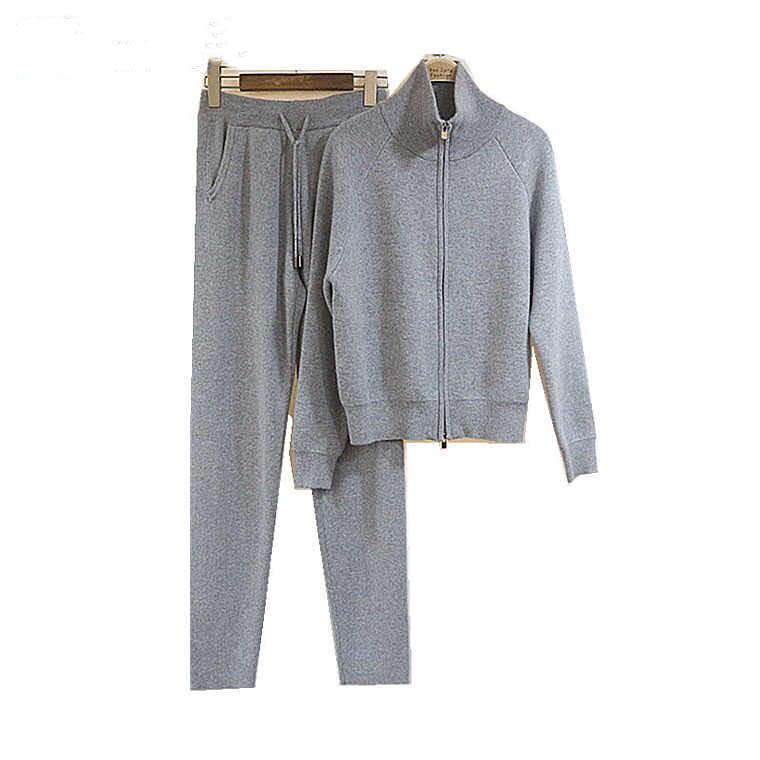Fashion Women Cashmere knitting suit 2018 New Cashmere Knitting Letter Zipper Cardigan Sweater + Knit Pants Two-piece Women