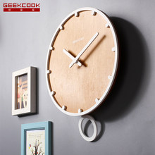 12 inch Large Wooden Swing Pendulum Wall Clock Home Decoration Quartz Movement Watch for Living Room Office 50CL021(China)