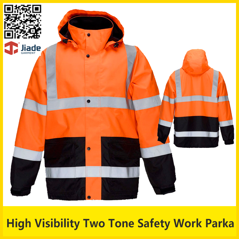 Jiade High visibility two tone reflective safety work jacket thermal winter jacket  workwear safety clothing new men s work clothing reflective strip coveralls working overalls windproof road safety uniform workwear maritime clothing