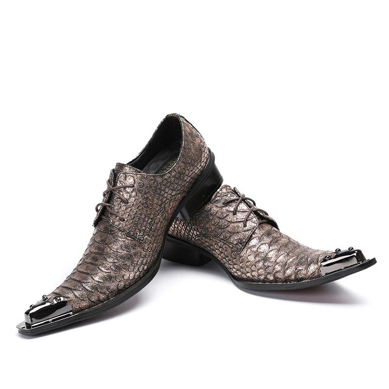 Serpiente Formal Bronce Picture La Punta as Boda Cuero Caliente Moda De Para Zapatos Italiano Vestido Picture Oxford Hombres Acero Hombre Piel As Genuino IwRqtUX