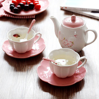 Japan Style sakura ceramic decorative coffee tea sets drinkware cups with handgrip saucers milk tea coffee cup spoon tea bottle
