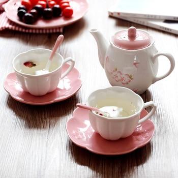 Japan Style sakura ceramic decorative coffee tea sets drinkware cups with handgrip saucers milk tea coffee cup spoon tea bottle
