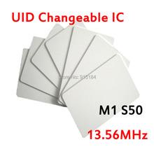 Free Shipping 50pcs UID Card rewritable rfid 13.56 mhz PVC Thin Uid Changeable IC block 0 writable Card(1K) for acr122u