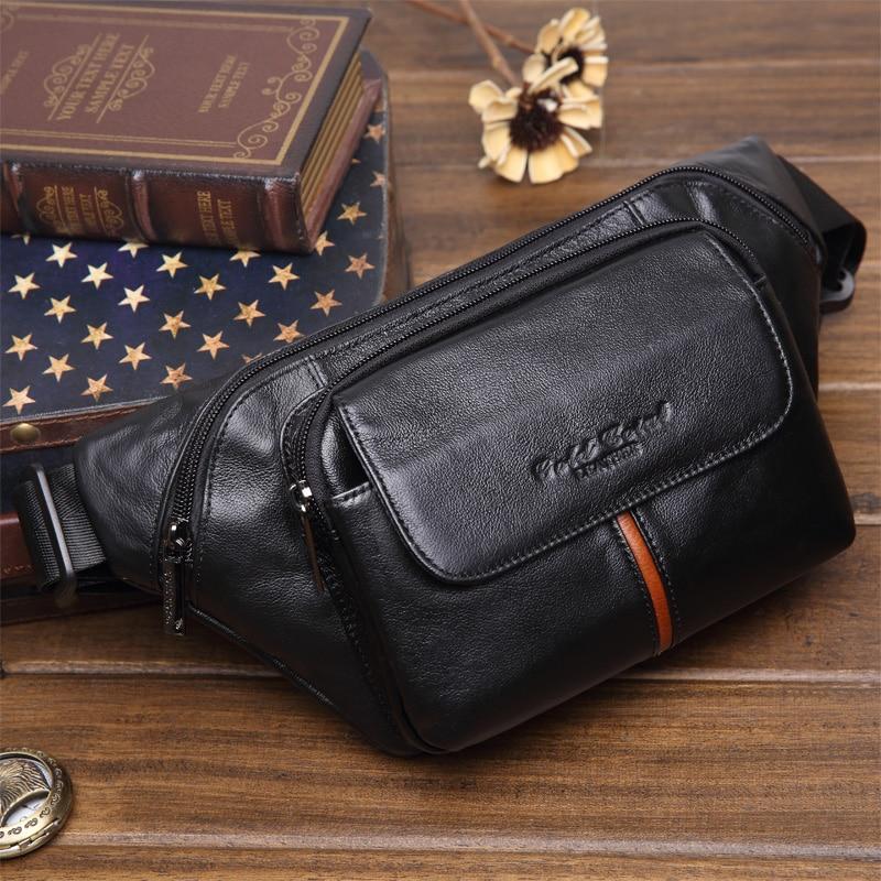 a1d8f2fd6 جديد حقيقي جلد البقر حزام محافظ الرجال فاني حزمة الخصر حزم حقائب السفر  للرجال