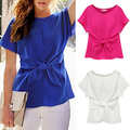 items! Women's Oversized Short Sleeve Crewneck Tie Front Bow Chiffon Blouse Tops
