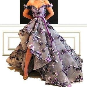 Image 4 - Новое поступление, элегантные платья трапеции знаменитостей с цветами и поясом, с открытыми плечами, роскошные платья с красной ковровой дорожкой для приема
