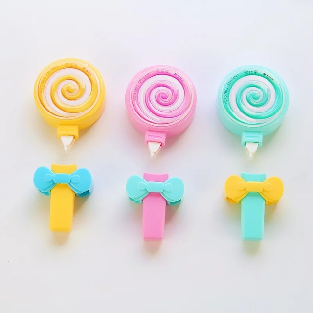 Z42 Kawaii Cute Candy Lollipop Correction Tape Erasers Corrector School Office Supply Student Stationery Kids Gift