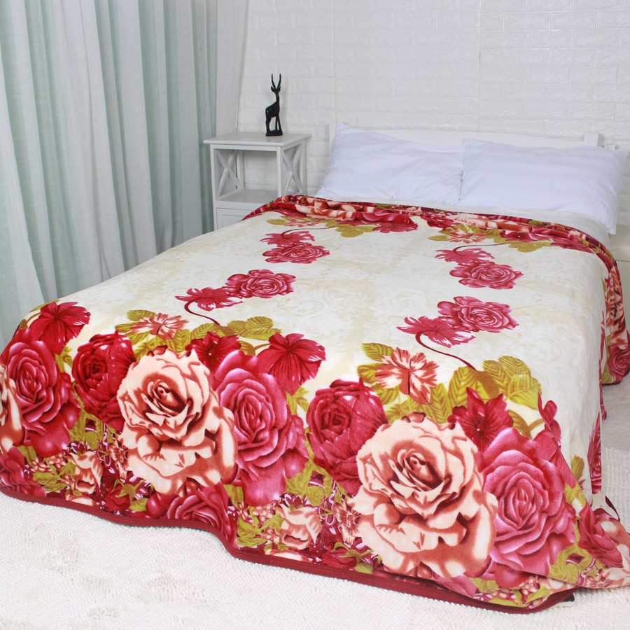 Full Queen King Size Floral Rose Fleece Blanket Joyous Throw Blankets for Bed Sofa 230x240cm Bedding Sheet Cover for Wedding рубашка в клетку insight sofa king unjaded