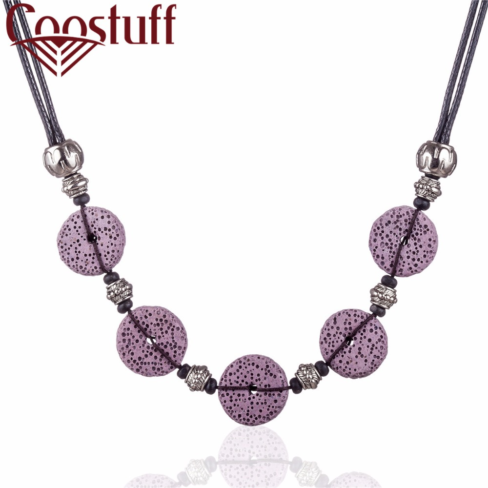 New Trendy Jewelry kolye Collier Necklaces Pendants Women Purple Nature Lava Stone Beads Necklace Colar Chocke Christmas Gift in Pendant Necklaces from Jewelry Accessories