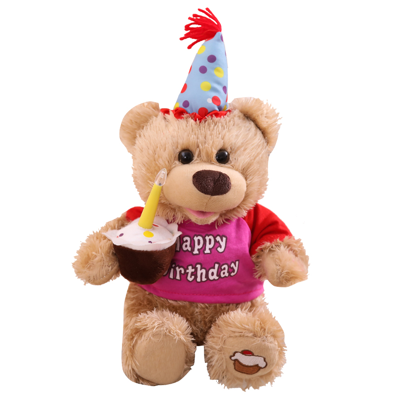 Humor Ted ElectronicMusical Plush Bearwith Birthday CakeSinging And Talkinglights In The Candletoys Gifts For