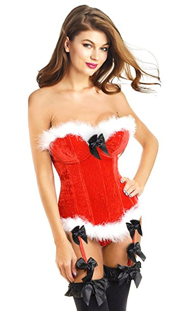 MOONIGHT Overbust Corset Christmas Costume Cosplay Corset Bustier Bodyshaper Lingerie Showgirl Clothing