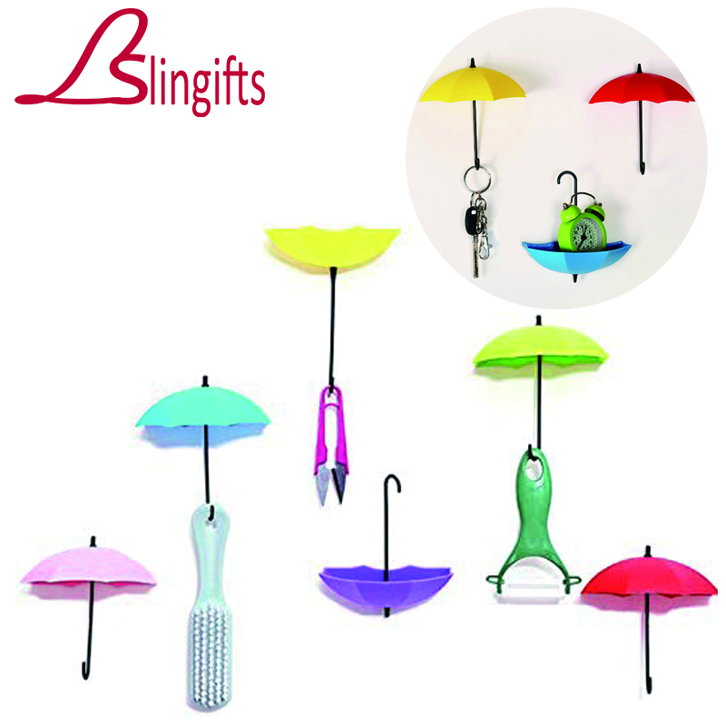 Slingifts 3Pcs/Set Home Colorful Umbrella Wall Hook Key Hair Pin Holder Organizer Decorative Umbrella Wall Hanger